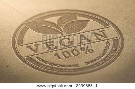 Vegan certified food stamp debossed over brown natural background, 3D illustration