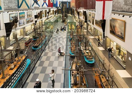 St. Petersburg, Russia - June 02. 2017 Top view Interior of a Naval Museum in Kryukov Barracks