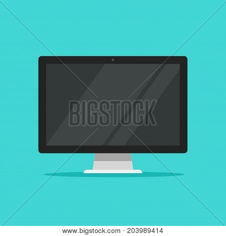 Monitor vector illustration, flat cartoon wide screen display isolated on color background, modern led lcd monitor icon