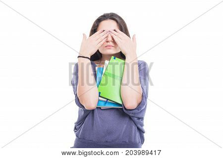Student Girl Making See No Evil Gesture