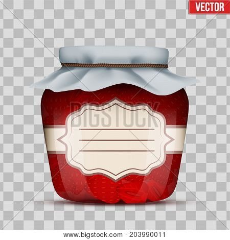 Canning Glass Jar with strawberries jam and closed cloth cover. Jar with label. Vector Illustration isolated on transparent background.