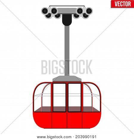 Sample Ski Lift Gondola. Flat design. Ski Resort Equipment for cableway. Vector Illustration isolated on white background.