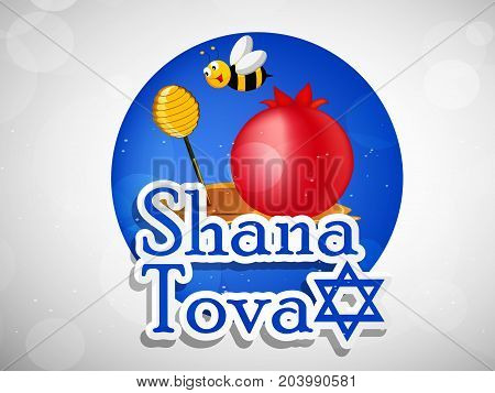 illustration of bee, honey and pomegranate with Shana Tova text on the occasion of Jewish New Year Shanah Tovah