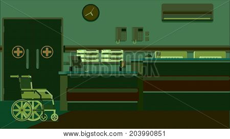 Hospital Reception Doctors Office vector colorful illustration