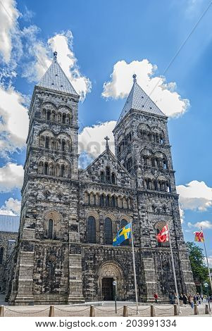 A view of the very impressive looking Lund cathedral in Sweden.