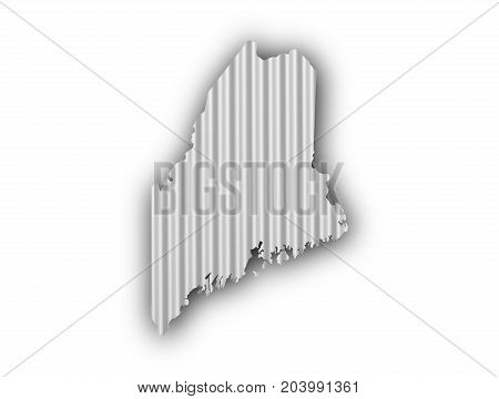 Map Of Maine On Corrugated Iron