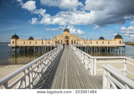 VARBERG SWEDEN - SEPTEMBER 03 2017: Varberg's cold bathhouse was erected in 1903. This is still standing and should be able to withstand the most violent of storms.