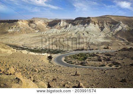 Israeli desert on Nahal Tzin in Makhtesh Ramon