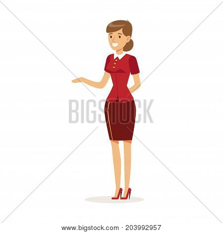 Smiling female hotel manager character wearing red uniform meeting guests, hotel staff vector Illustration on a white background