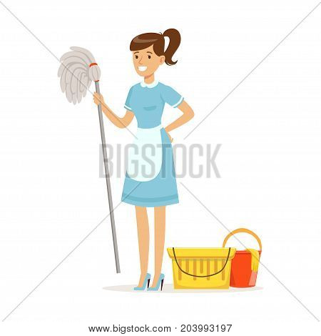 Smiling maid character wearing uniform with bucket and mop, cleaning service of hotel vector Illustration on a white background