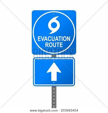 Hurricane Evacuation Route Emergency Sign on white background