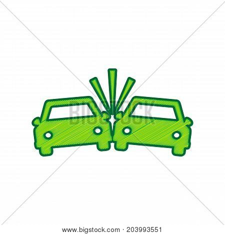 Crashed Cars sign. Vector. Lemon scribble icon on white background. Isolated