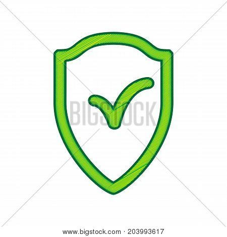 Shield sign as protection and insurance symbol. Vector. Lemon scribble icon on white background. Isolated