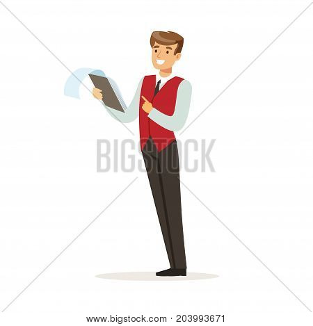 Smiling male hotel manager character wearing red uniform controlling something, hotel staff vector Illustration on a white background