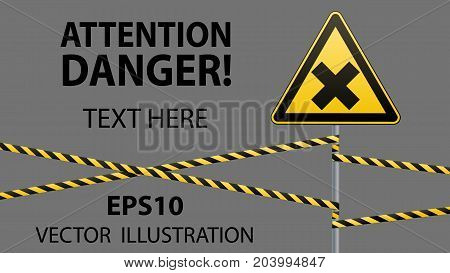 Safety sign. Caution - danger Harmful to health allergic irritant substances. Barrier tape. Vector illustration
