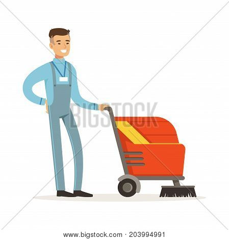 Young smiling janitor with washing machine cleaning and polishing floor vector Illustration on a white background