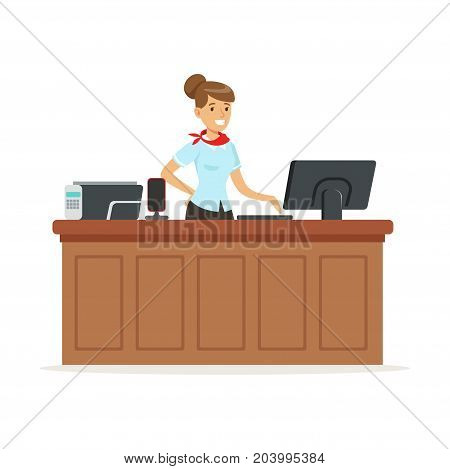 Friendly young woman behind the reception of a hotel, reception service vector Illustration on a white background
