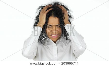 Black Woman Reacting to Failure isolated on white background