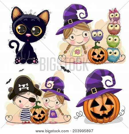 Set of Halloween cards with girls owls and black cat