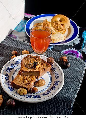 Slices Of Sweet Chestnut Cake