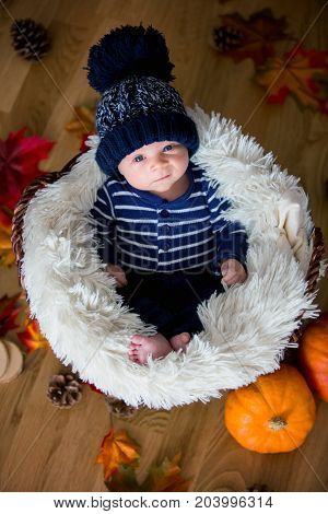 Cute Newborn Baby Boy With Knitted Hat In A Basket