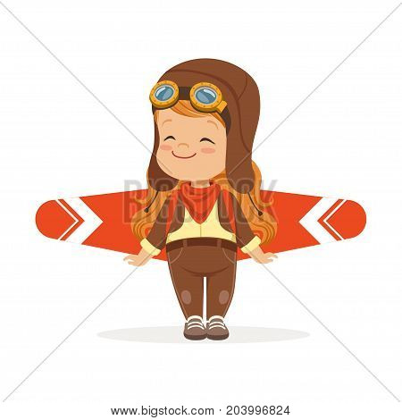 Happy little boy in pilot costume playing with wings, kid dreaming of piloting the plane vector Illustration on a white background