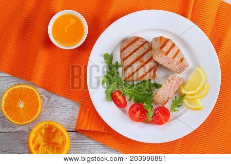 Delicious Grilled Tuna Steak With Salad