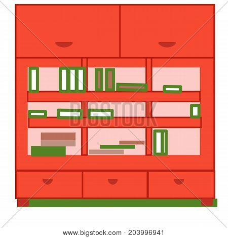 Elegant bookcase, flat style isolated on green background.vector