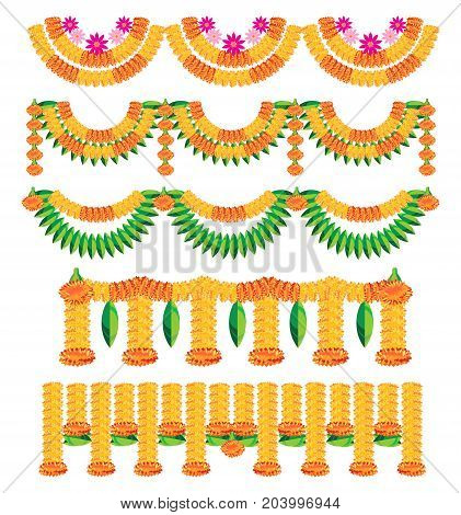 stock illustration of bunting ( known as toran in hindi) made using colourful marigold or genda or zendu flower arrangement for Hindu or indian festival decoration