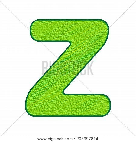 Letter Z sign design template element. Vector. Lemon scribble icon on white background. Isolated