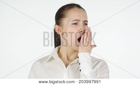 Yawning Woman tired,  Isolated on White Background