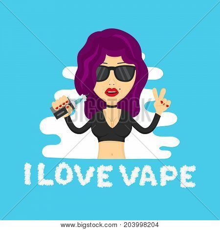 Young hipster sexy beauty woman girl profile with vape. Flat vector isolated illustration. vaping shop, addiction, liquid, no nicotine, no smoking, e-cigarette, vaporize, vapor concept. Cloud letters