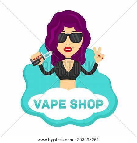 Young hipster sexy beauty woman girl profile with vape. Flat vector isolated illustration. vaping shop, no nicotine, no smoking, e-cigarette, vaporize, vapor logo concept. Isolated on white background