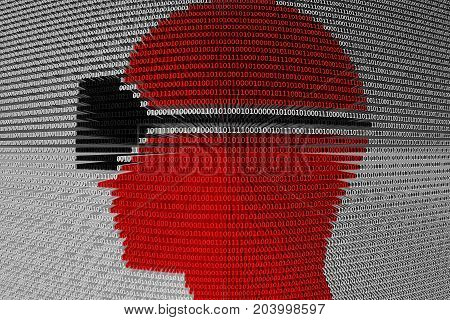 virtual reality is presented in the form of binary code 3d illustration