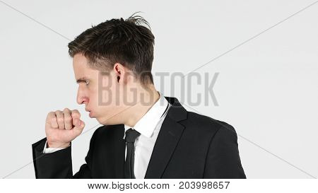 Cough, Businessman Coughing, White Background