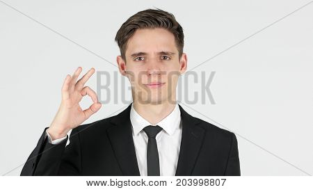 Okay, Satisfied Businessman, White Background