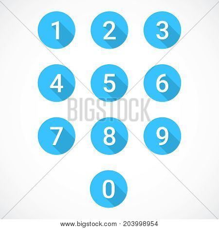 Set of 0-9 numbers. Vector illustration eps 10