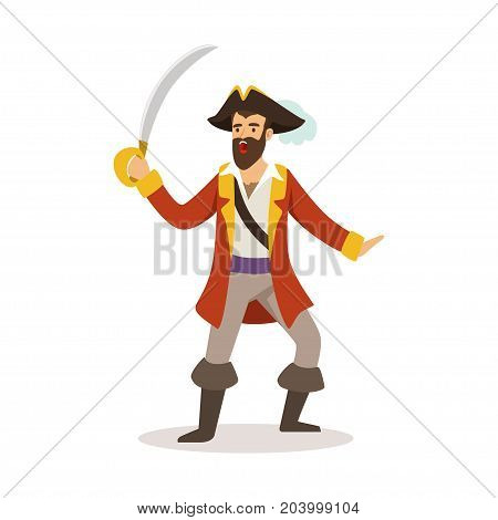 Brave pirate sailor character with sabre vector Illustration on a white background