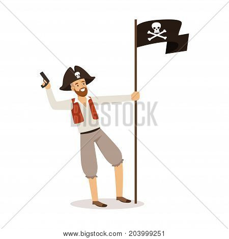 Brave pirate character with Jolly Roger flag vector Illustration on a white background
