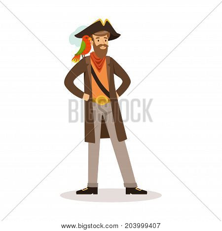 Pirate sailor character with a parrot on his shoulder vector Illustration on a white background