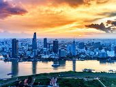 Aerial view of Ho Chi Minh city, Vietnam. Beauty skyscrapers along river light smooth down urban development in Ho Chi Minh City, Vietnam. High, Best royalty free stock image,  high resolution poster