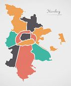 Nuremberg Map with boroughs and modern round shapes poster