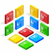 Isometric set of elements of the periodic table Mendeleev s Periodic Table. Vector illustration lithium, iron, krypton, hydrogen. poster