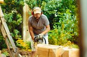 Portrait of lumberjack logger worker in protective workwear with chainsaw at forest poster