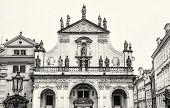 Saint Salvator church in Prague Czech republic. Architectural scene. Travel destination. Black and white photo. poster