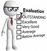Cartoon teacher or human resources manager check OUTSTANDING evaluation form report card poster
