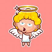 Sticker emoji emoticon, emotion, yawn, gape vector isolated illustration bored character sweet divine entity, cute heavenly angel, saint spirit, wings, radiant halo on pink background for mobile app poster