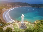 Tourist tour for jesus christ statue  in Nicaragua. Above view on San juan del sur poster