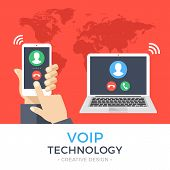 VoIP technology, voice over IP, IP telephony concept. Hand holding smartphone with outgoing call, laptop with incoming call on screen. Internet calling banner. Modern flat design vector illustration poster