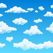 Cloud seamless vector background. Endless cartoon cloudscape. Seamless background cloud and blue sky illustration poster